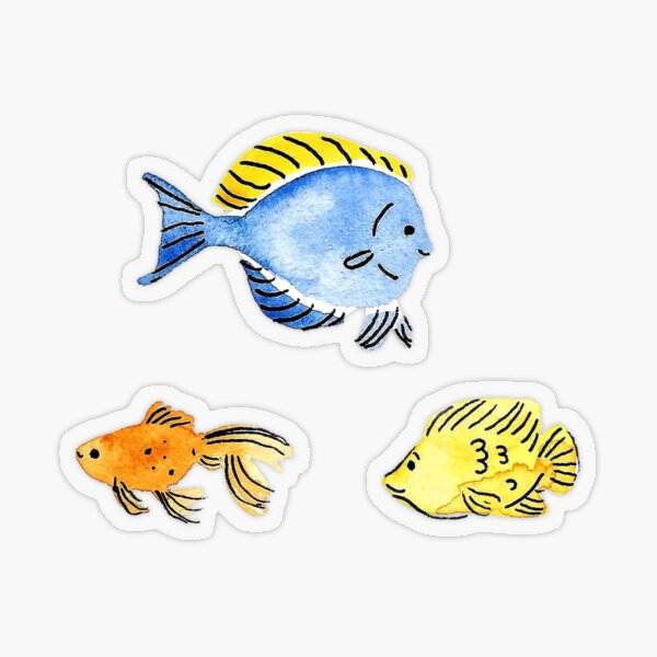 Hand Painted Watercolor Fish Stickers Transparent Sticker