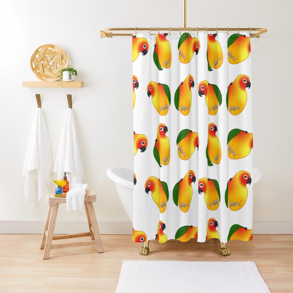 funny mango sun conure doodle Shower Curtain