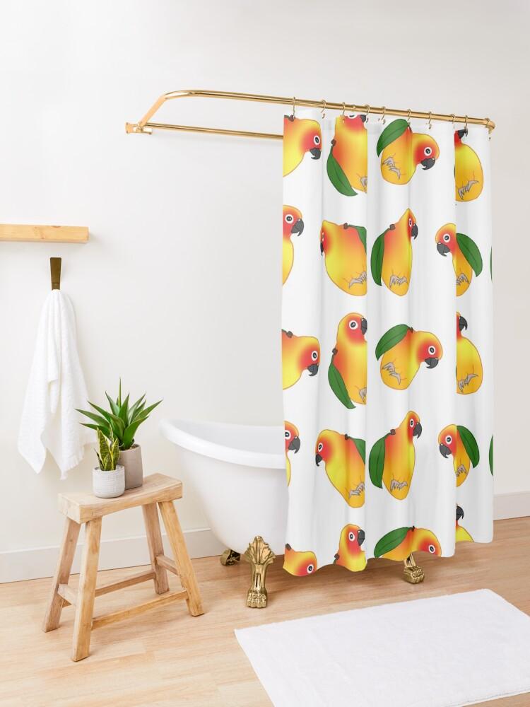 Alternate view of funny mango sun conure doodle Shower Curtain