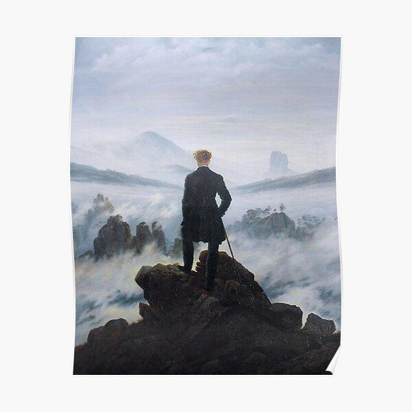 The wanderer above the sea of fog. Wanderer Above the Mist. 1818. Caspar David Friedrich. Poster
