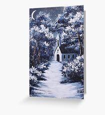 Little White Church On Winter Night Greeting Card