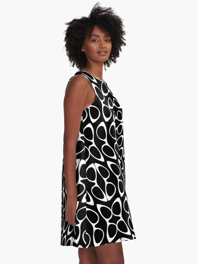 Alternate view of Crazy Sassy Cool Cat Eyes Black & White A-Line Dress
