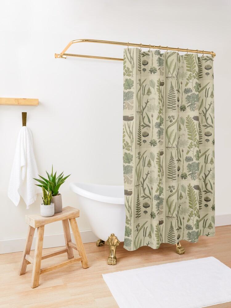 Alternate view of Ferns And Lichen Shower Curtain