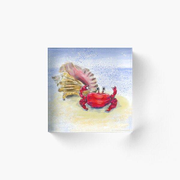 Whimsical Crab and Seashell Beach Art Acrylic Block