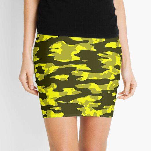 Yellow & Black Camouflage Mini Skirt