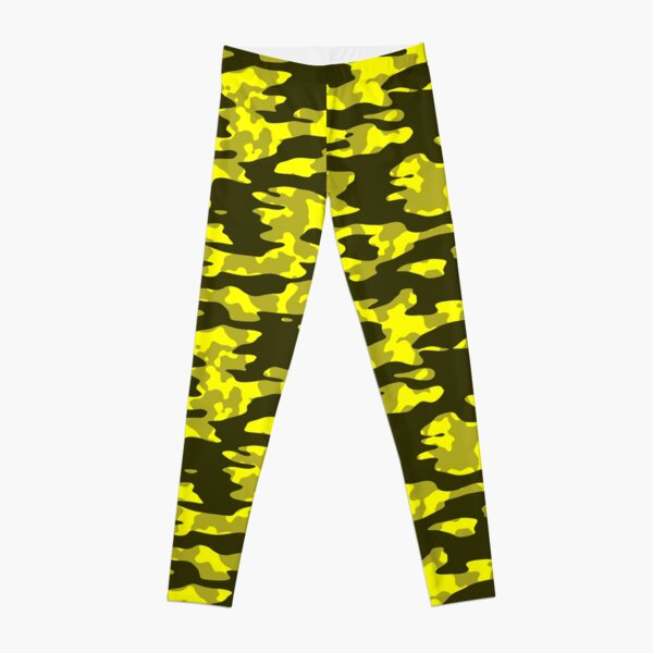 Yellow & Black Camouflage Leggings