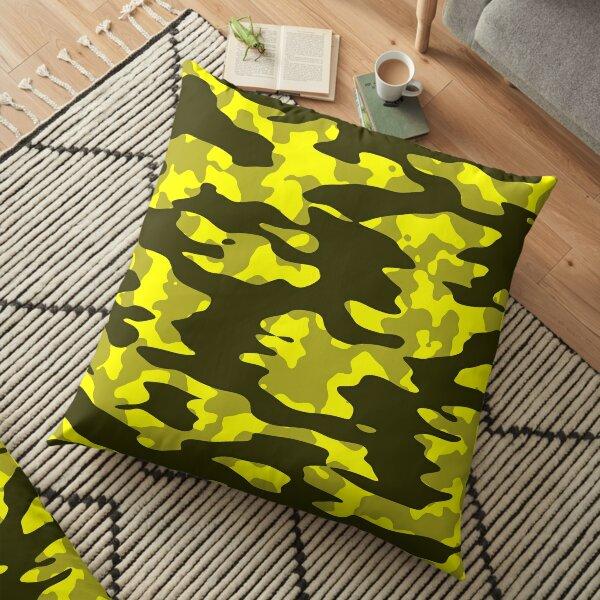 Yellow & Black Camouflage Floor Pillow