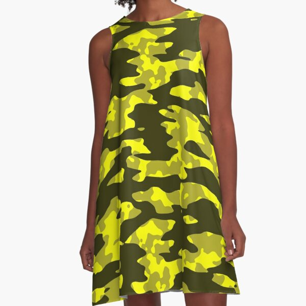 Yellow & Black Camouflage A-Line Dress
