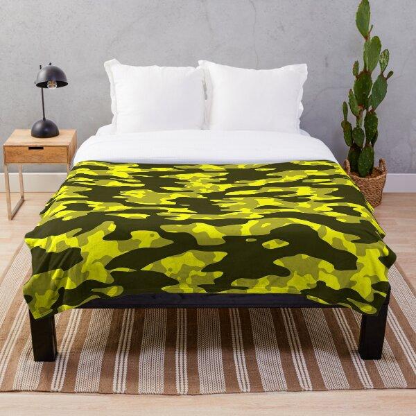 Yellow & Black Camouflage Throw Blanket