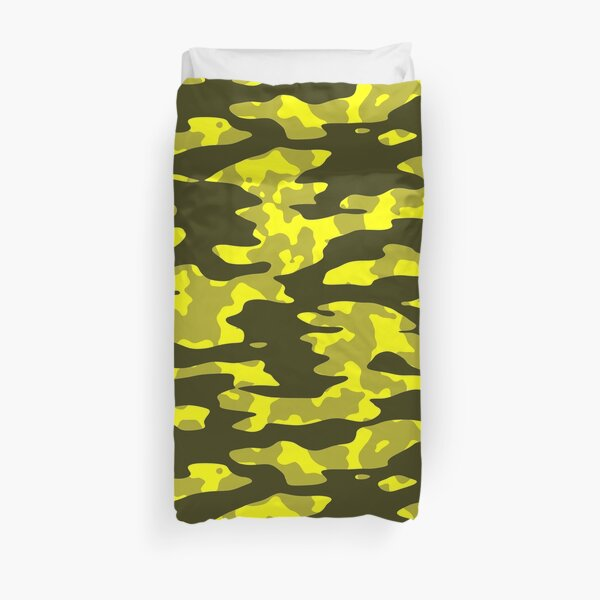 Yellow & Black Camouflage Duvet Cover
