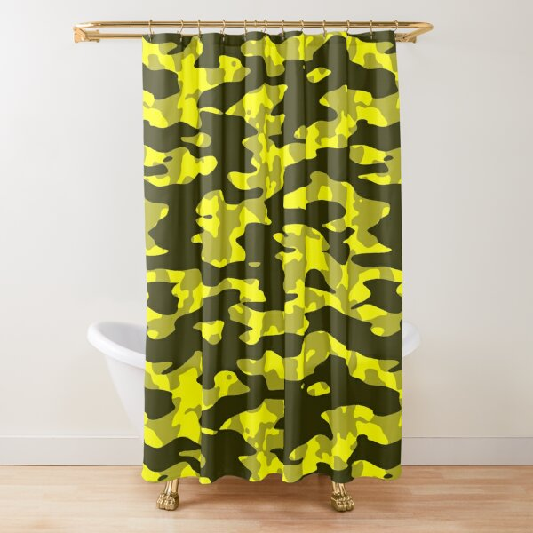 Yellow & Black Camouflage Shower Curtain
