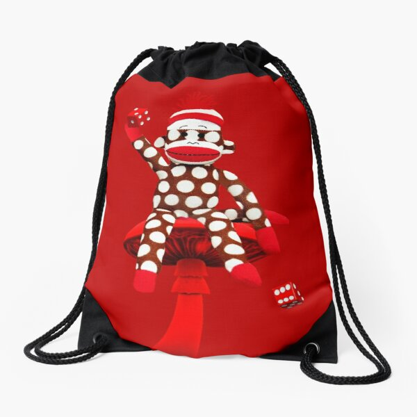 POKA DOT-SOCK MONKEY TROWING DICE-PILLOWS-JOURNAL-TOTE BAG-MUG-BOOKS-TEE SHIRT-ECT.. Drawstring Bag