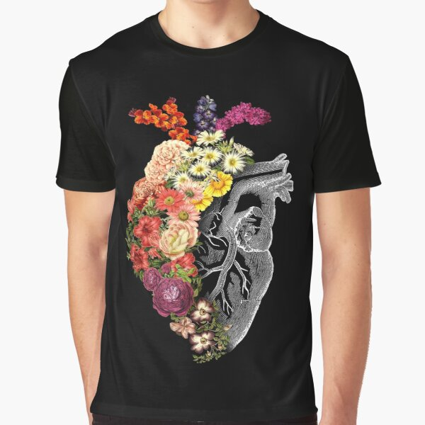 Flower Heart Spring Graphic T-Shirt