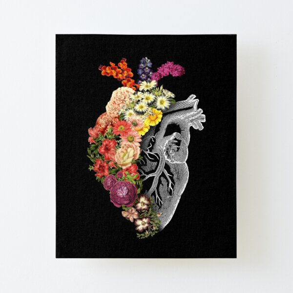 Flower Heart Spring Canvas Mounted Print