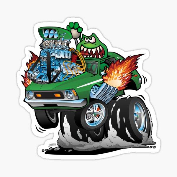 Seventies Green Hot Rod Funny Car Cartoon Sticker