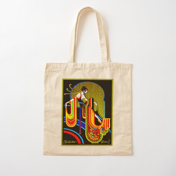 FLAPPER : Vintage 1920 Art Deco Beautiful Print Cotton Tote Bag
