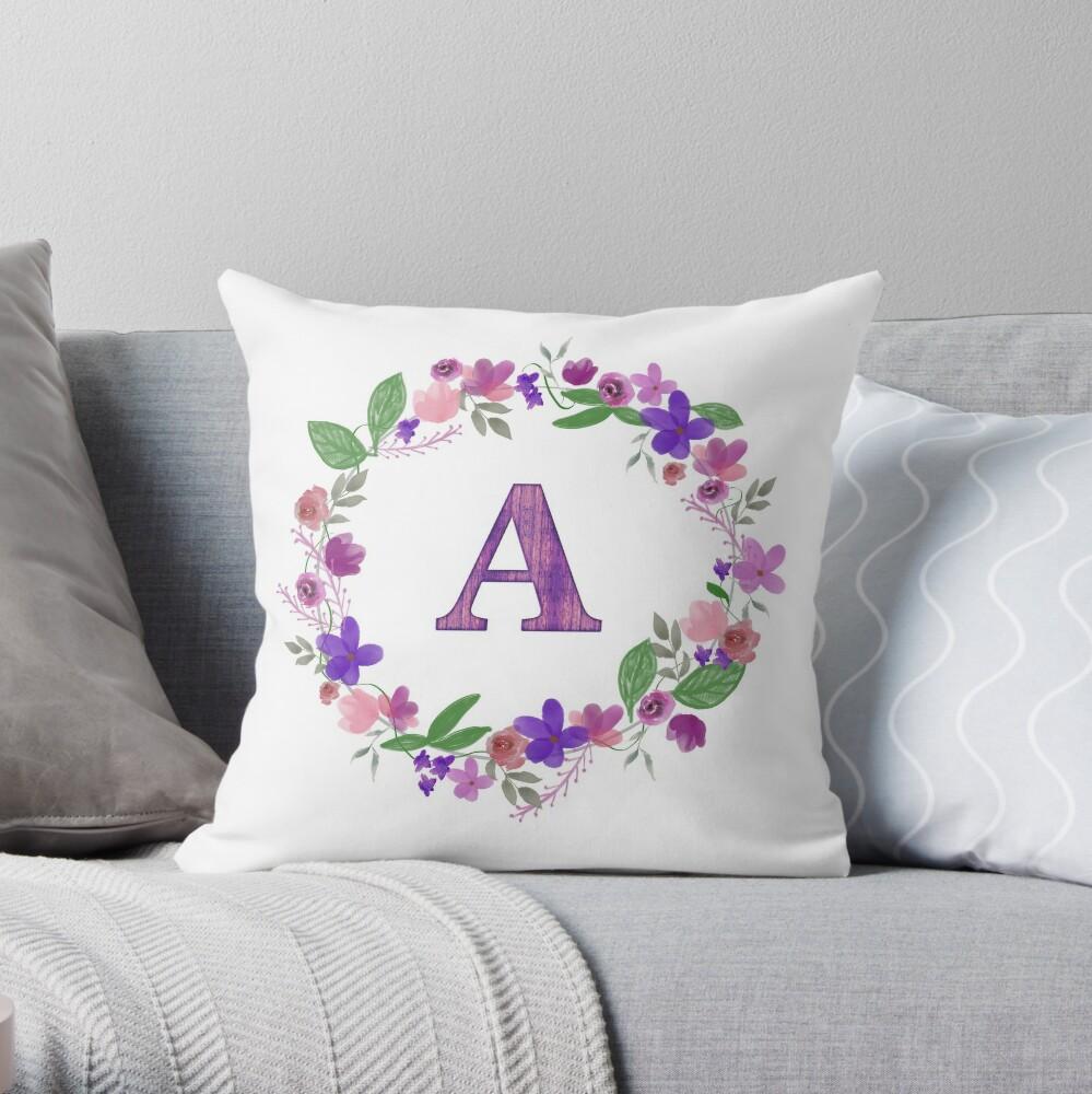 Monogram Letter A Throw Pillow
