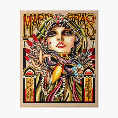 MARDI GRAS; Vintage New Orleans Art Deco Print Art Board Print