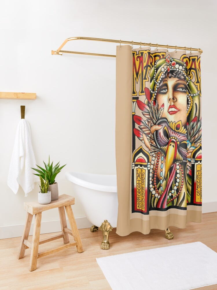 Alternate view of MARDI GRAS; Vintage New Orleans Art Deco Print Shower Curtain