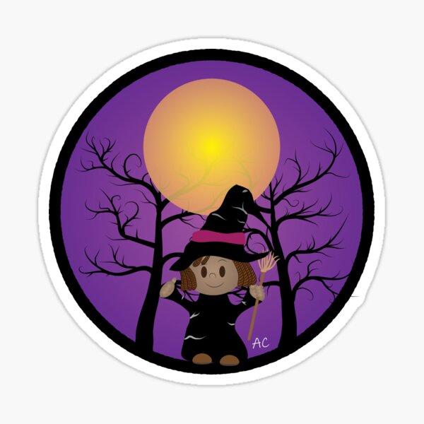 Kid in witch costume Sticker