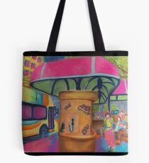 Busy Bus Stop Blues Tote Bag