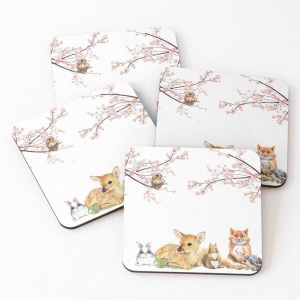 Wild Woodland Creatures Deer Fox Rabbit  Coasters (Set of 4)