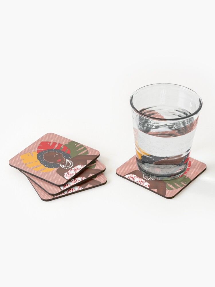 Alternate view of Festival pop art print Coasters (Set of 4)