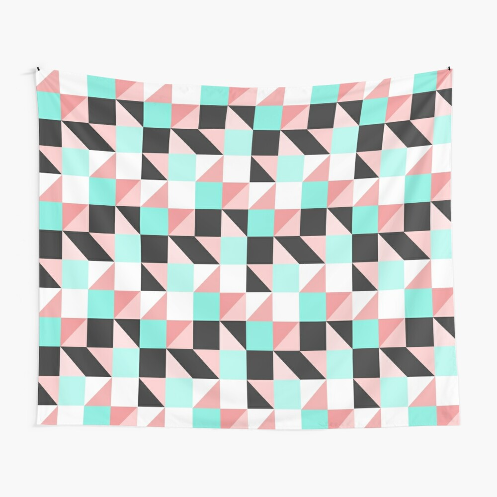 Modern Girly Pink Teal Triangle Square Geometric Wall Tapestry