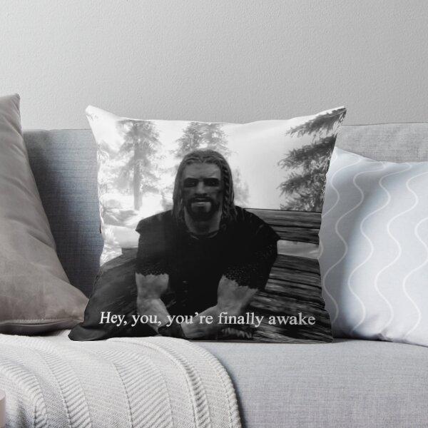 youre finally awake skyrim Throw Pillow