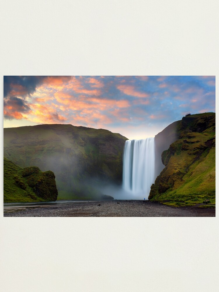 Alternate view of Skogafoss, Iceland Photographic Print