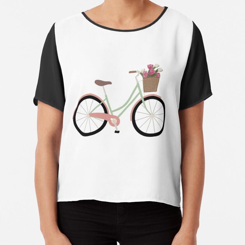 Bicycle Illustration Chiffon Top
