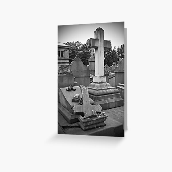 Broken cross and tombstone Greeting Card