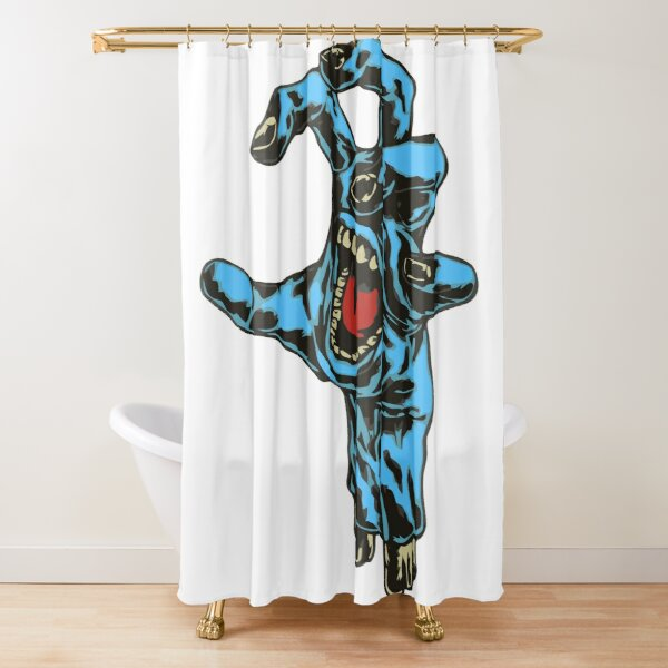 Blue Zombie Hand Shower Curtain
