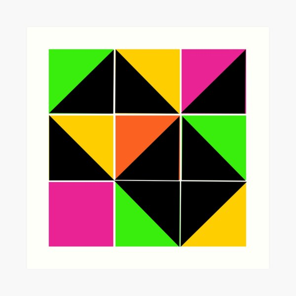 Stephen Sprouse inspired-geometric- color blocked- triangles-day glow colors Art Print