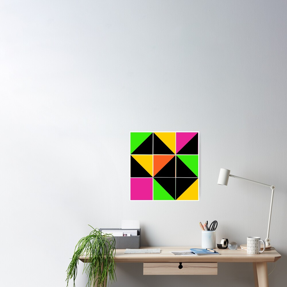 Stephen Sprouse inspired-geometric- color blocked- triangles-day glow colors Poster