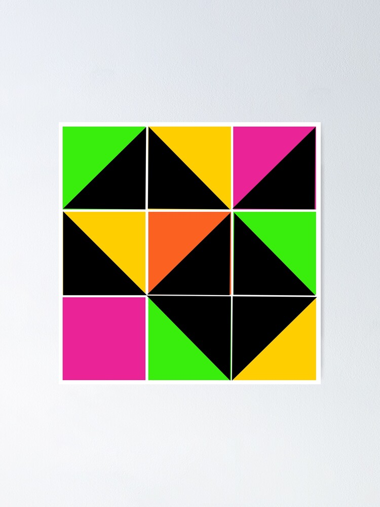 Alternate view of Stephen Sprouse inspired-geometric- color blocked- triangles-day glow colors Poster
