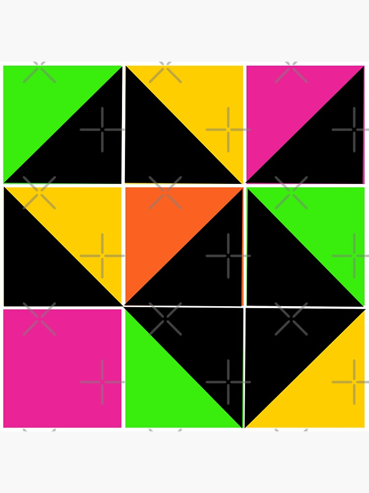 Stephen Sprouse inspired-geometric- color blocked- triangles-day glow colors by Matlgirl