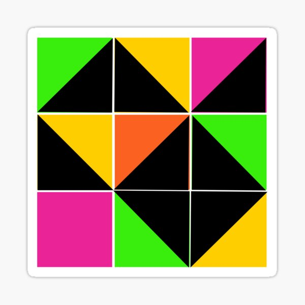 Stephen Sprouse inspired-geometric- color blocked- triangles-day glow colors Sticker