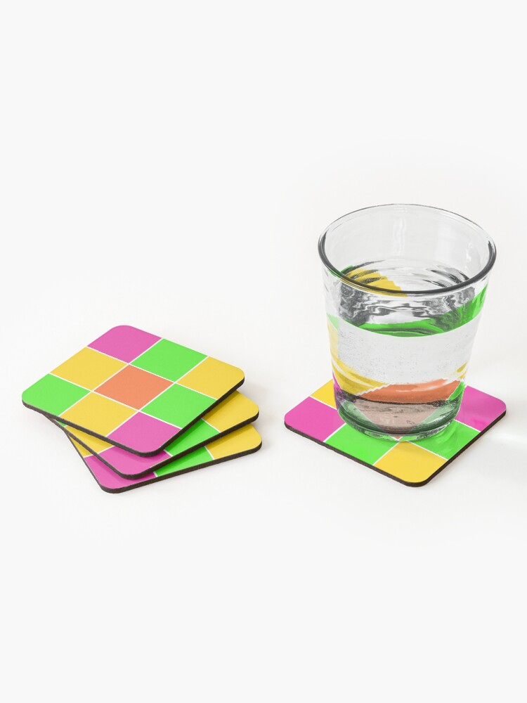 Alternate view of Sprouse inspired color blocks-checkered blocks-pop art Coasters (Set of 4)
