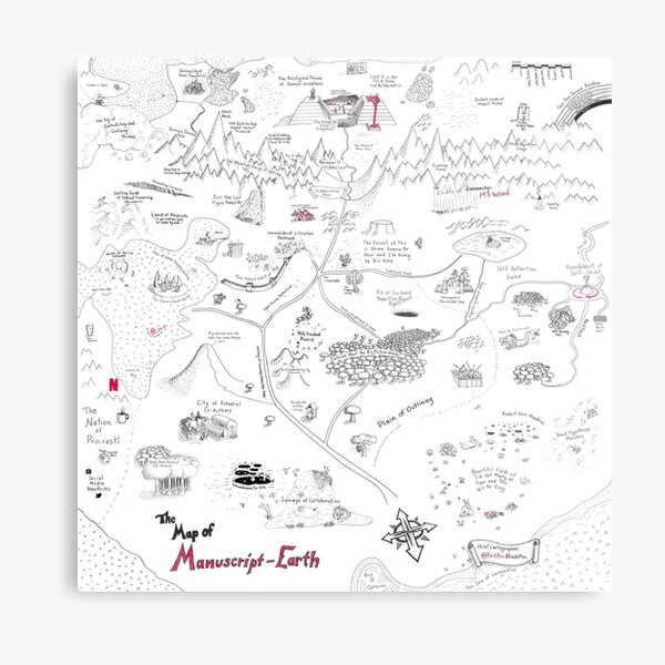 The Map of Manuscript Earth: Expansion Pack Metal Print