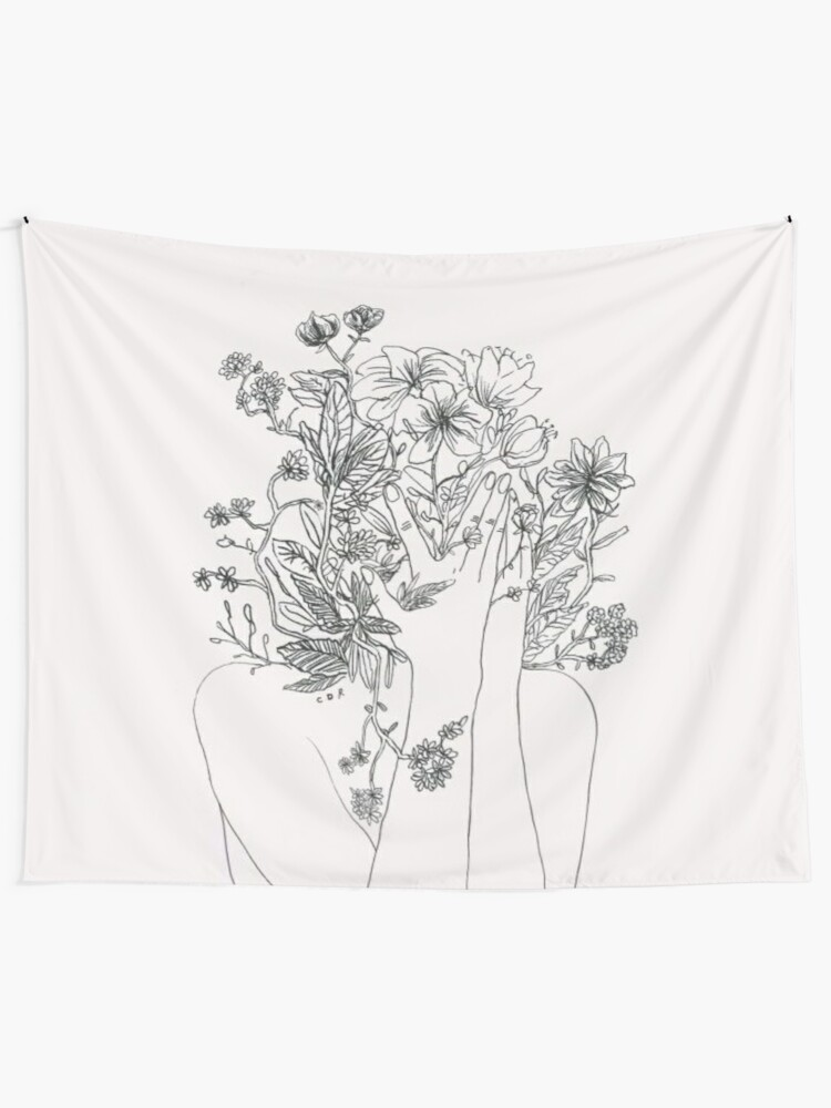 Alternate view of My mind is flowers  Tapestry