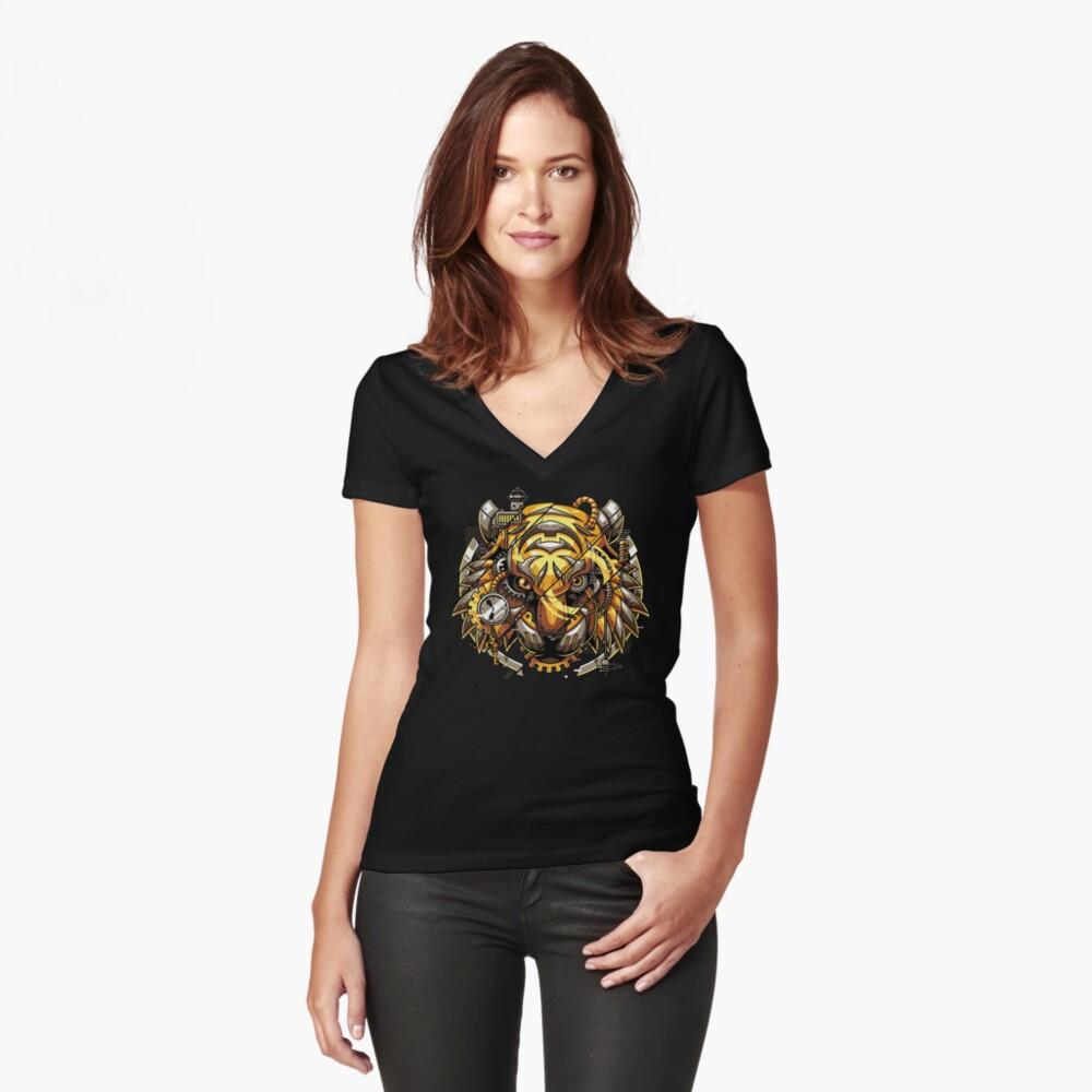 Digitalized Tiger Fitted V-Neck T-Shirt