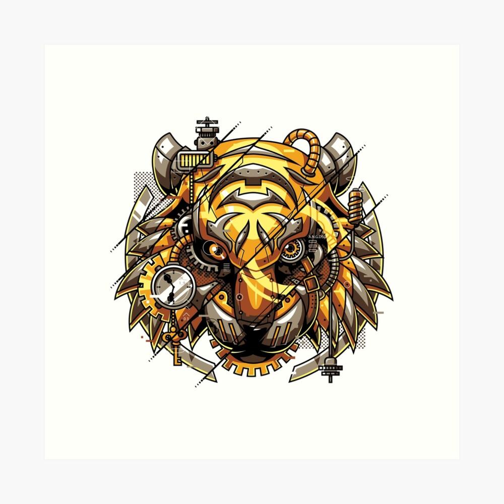 Digitalized Tiger Art Print