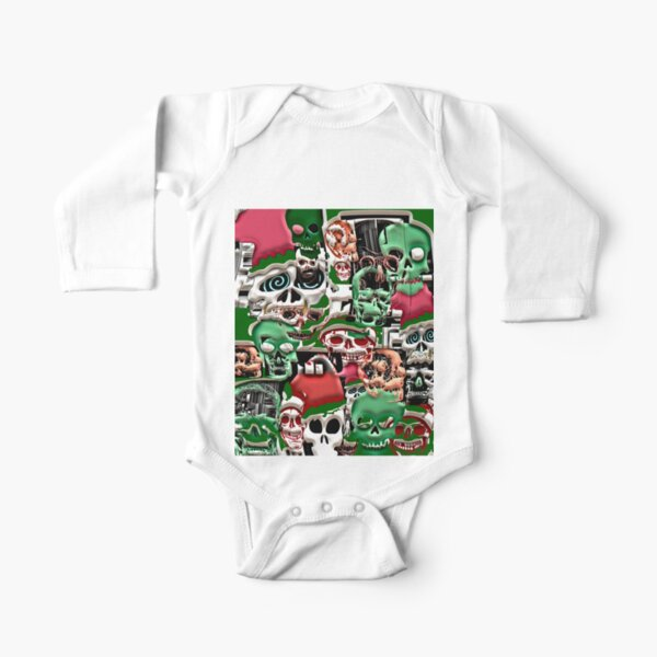 skulls christmas  Long Sleeve Baby One-Piece