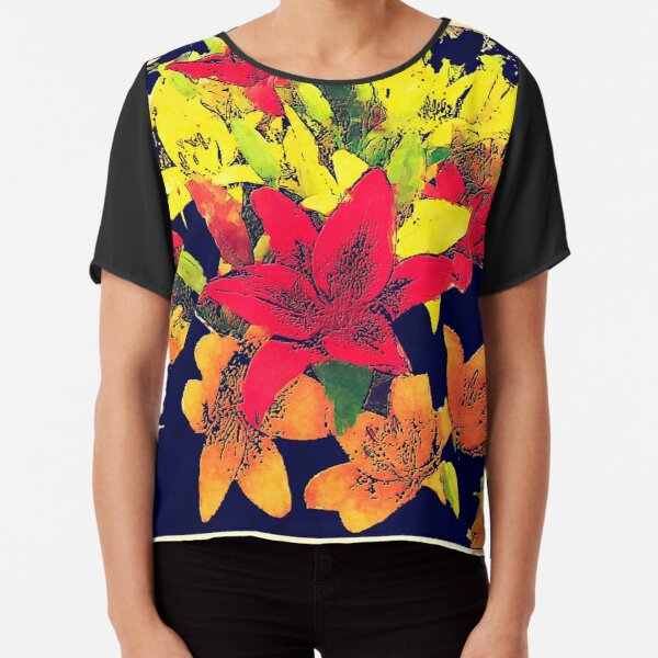 Large Bunch of Flowers Chiffon Top
