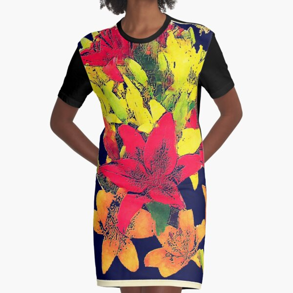 Large Bunch of Flowers Graphic T-Shirt Dress