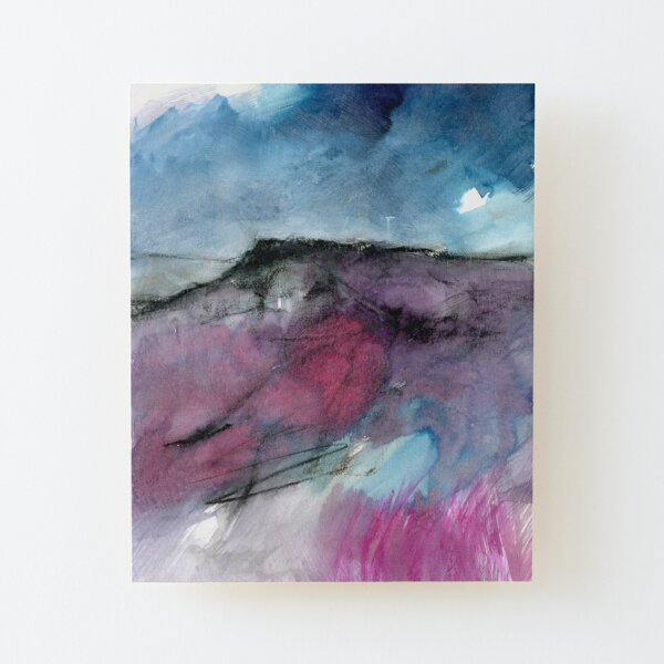 Purple Moor - Peak District Landscape painting Wood Mounted Print