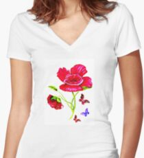 Poppies and Butterflies Fitted V-Neck T-Shirt