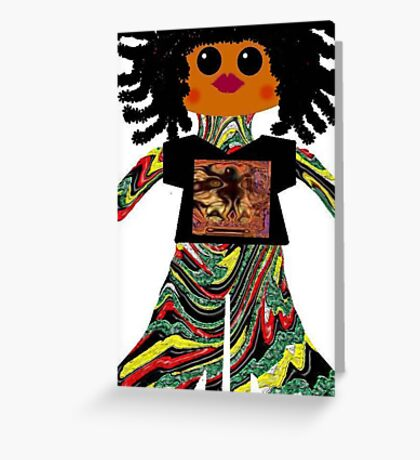 Litttle Reggae Rag Doll Wearing Mommy's Art 6 Greeting Card