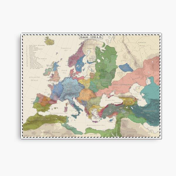 Europe AD 1210 Canvas Print